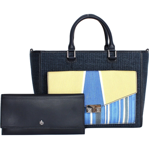 Tory Burch T-lock Straw Tote Satchel Tory Navy Combo