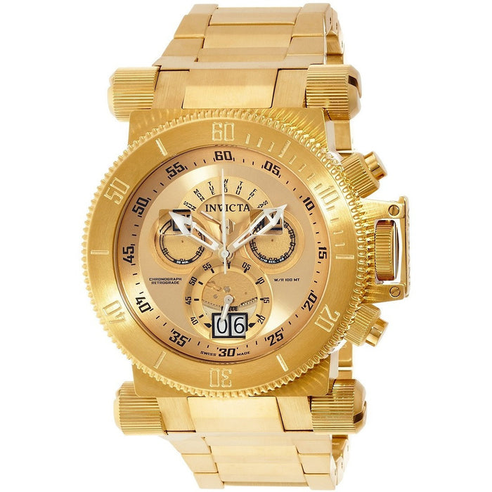 Invicta 17643 Men's Coalition Forces Gold Tone Dial Yellow Gold Bracelet Chronograph