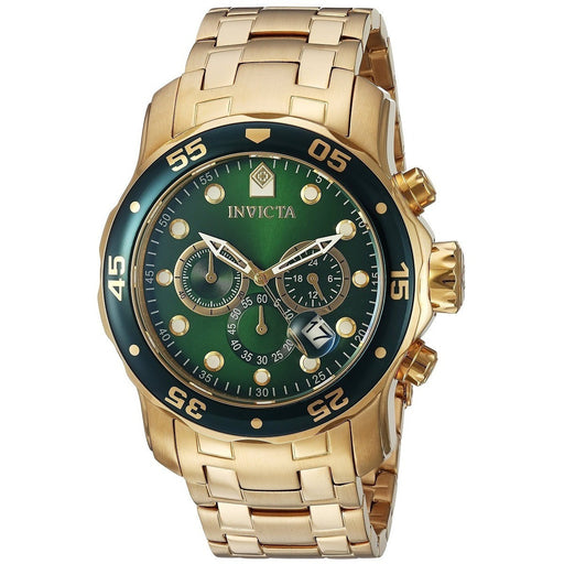Invicta 0075 Pro Diver Chronograph 18k Yellow Gold Plated Men's Watches