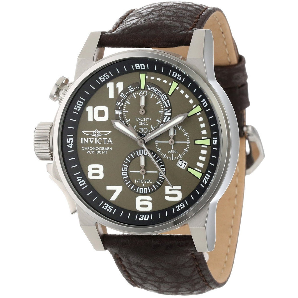 Invicta Men's 13054 Force Chronograph Olive Dial Dark Brown Leather Watch