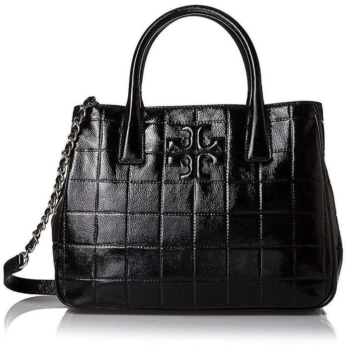 Tory Burch Marion Quilted Patent Satchel in Black