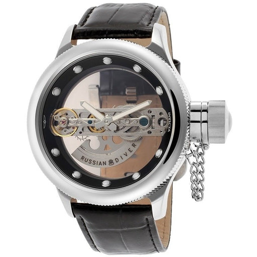 Invicta 14212 Men's Russian Diver Automatic See-Through Dial Black Genuine Leather
