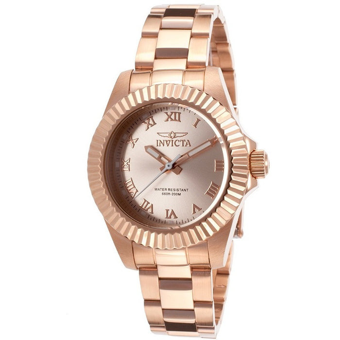 Invicta Women's Pro Diver Analog Display Swiss Quartz Rose Gold Watch 16763