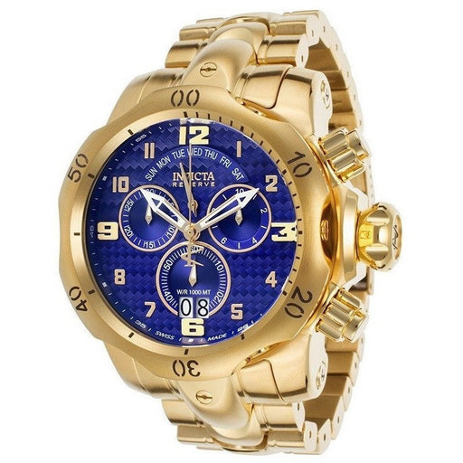 Invicta 17635 Venom Reserve Chrono 18K GP SS Blue Carbon Fiber Dial  Men's Watch