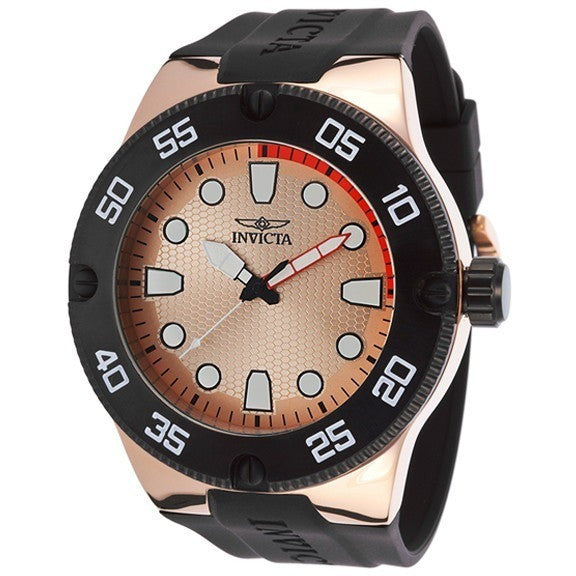 Invicta Men's Pro Diver Black Silicone Rose-Tone Dial Watch 18025