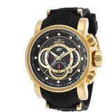 Invicta 19327 Men's S1 Rally Chrono Black Dial Yellow Gold Steel & Black Silicone Strap Watch - lalamall