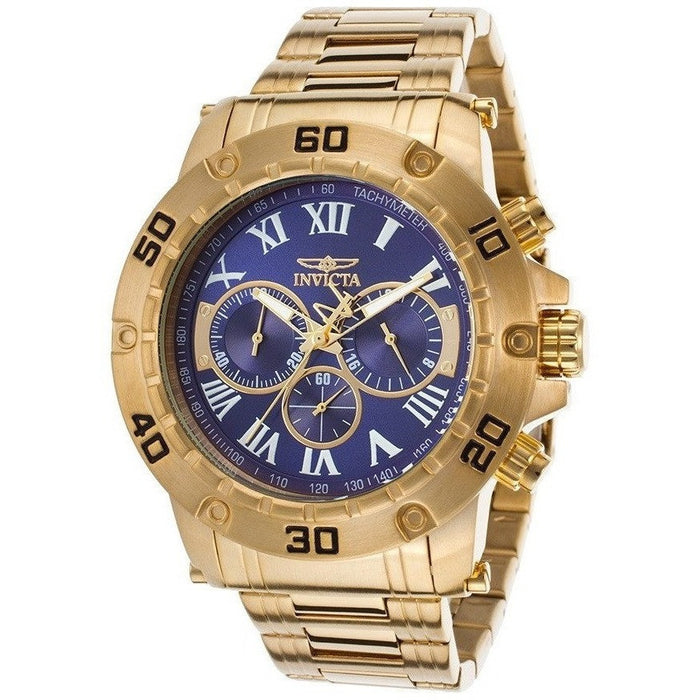 Invicta 19699 Men's Specialty Chrono 18k Gold-Plated SS Blue Dial