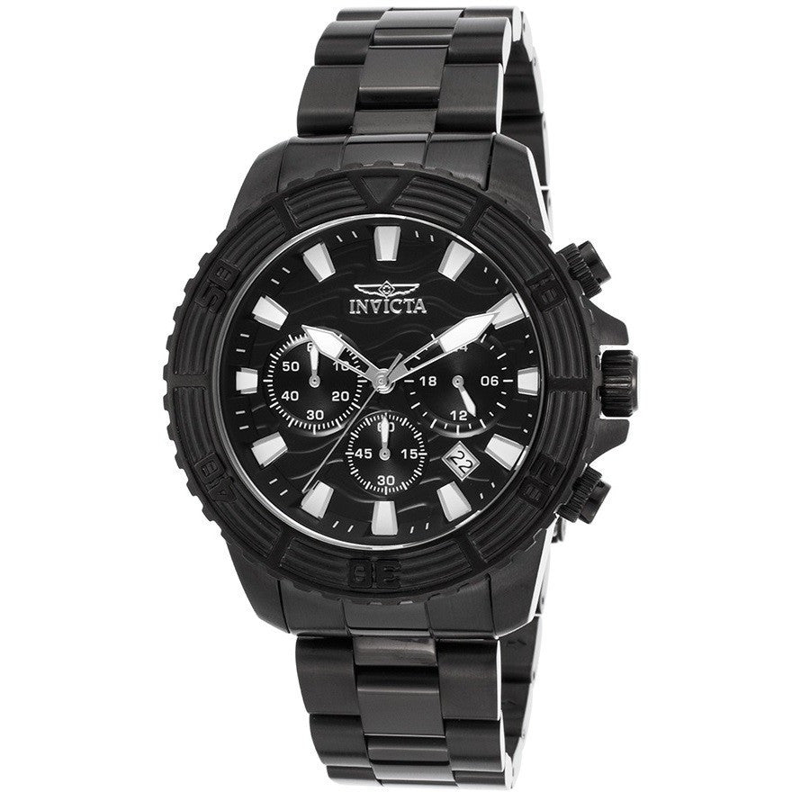 Invicta 24005 Men's Pro Diver Chronograph Black Ip Ss Black Dial Watch
