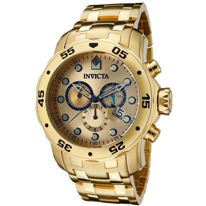 Invicta 0074 Pro Diver Chronograph 18k Gold Plated Stainless Steel Men's  Watch