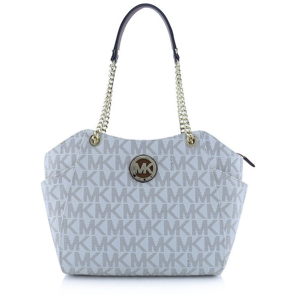 Michael Kors Jet Set Travel Large Chain Shoulder Tote Handbag, Color: PVC Vanilla