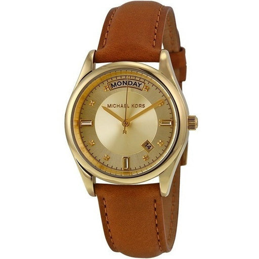 Michael Kors Women's Colette Luggage Leather Strap Watch MK2374