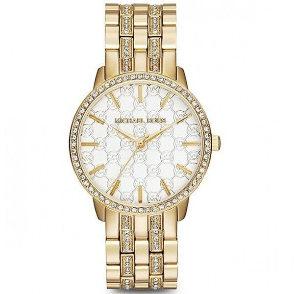 MICHAEL KORS Nini Gold Tone Monogram Logo Crystals WATCH Women's MK3214