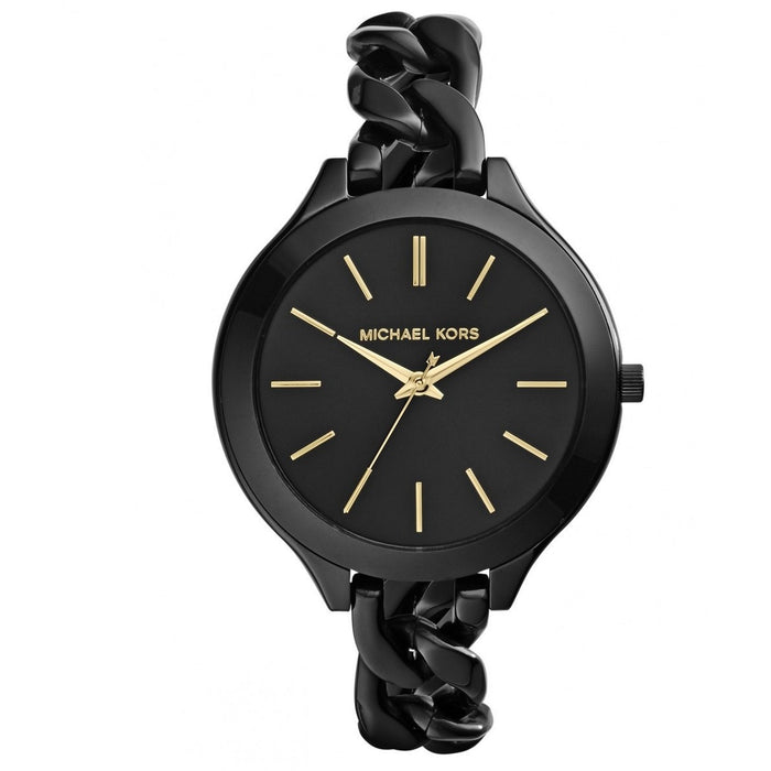 Michael Kors Women's Slim Runway Analog Quartz Black Watch MK3317