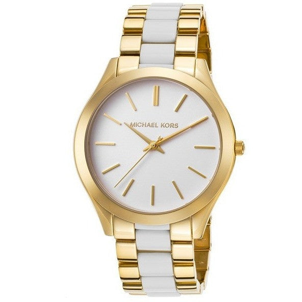 Michael Kors MK4295 Slim Runway Three Hand Stainless Steel Watch (Gold/White)