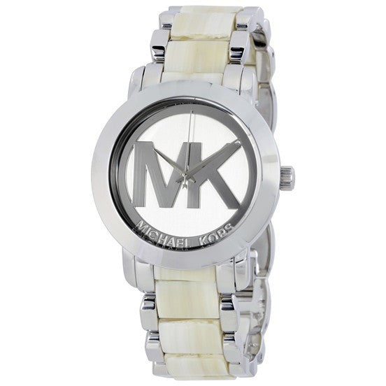 Michael Kors MK4304 Silver Dial Steel and Beige Acrylic Ladies Watch