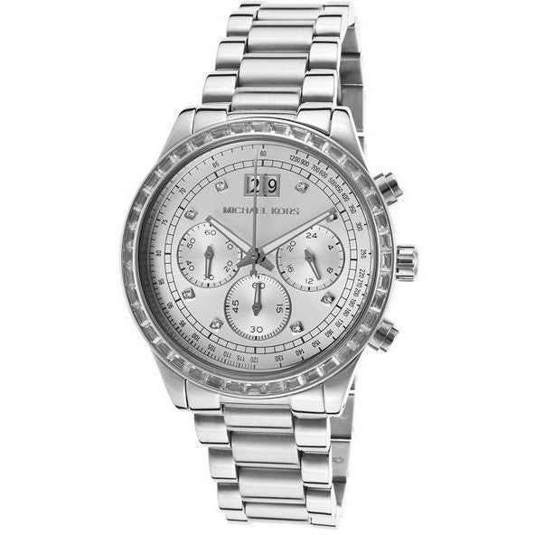 Michael Kors Brinkley Silver Dial SS Chronograph Quartz Ladies Watch MK6186