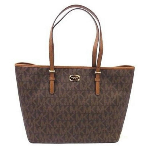 Michael Kors 35F6GTVT3B Jet Set Travel Brown Large Carryall Tote MK Signature
