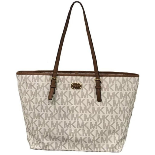 Michael Kors Jet Set Travel Large Carryall Tote MK Signature PVC Vanilla