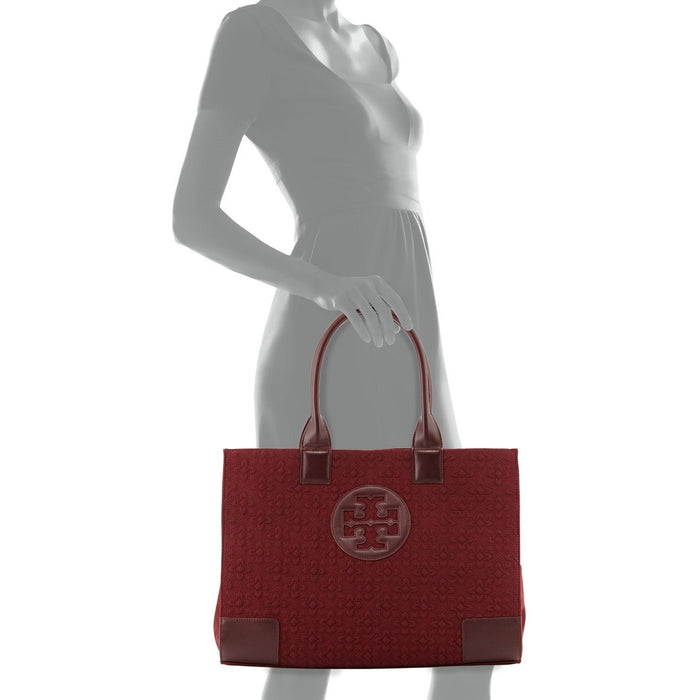 Tory Burch Ella Damask Tote Bag, Deep Berry