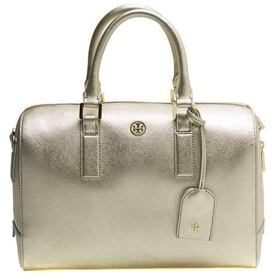 Tory Burch Robinson Saffiano Leather Middy Satchel Shoulder Bag Gold