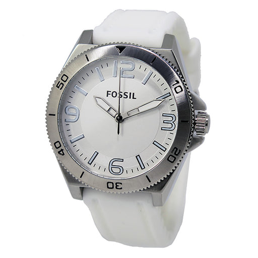 FOSSIL Silver Dial White Silicone Strap Men's Watch