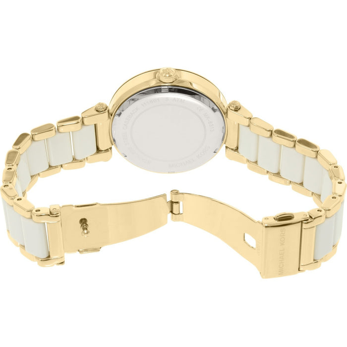 Michael Kors Parker Gold-Tone and White Acetate Women's Watch MK6313