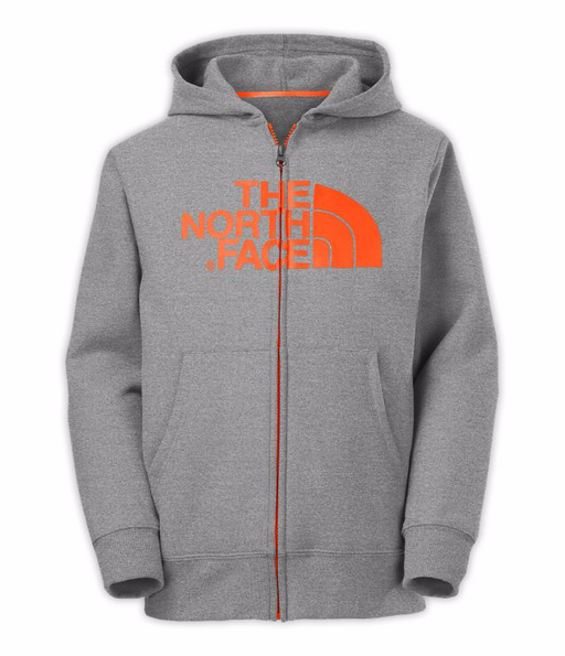BOYS' HALF DOME FULL ZIP HOODIE - HEATHER GREY / SHOCKING ORANGE