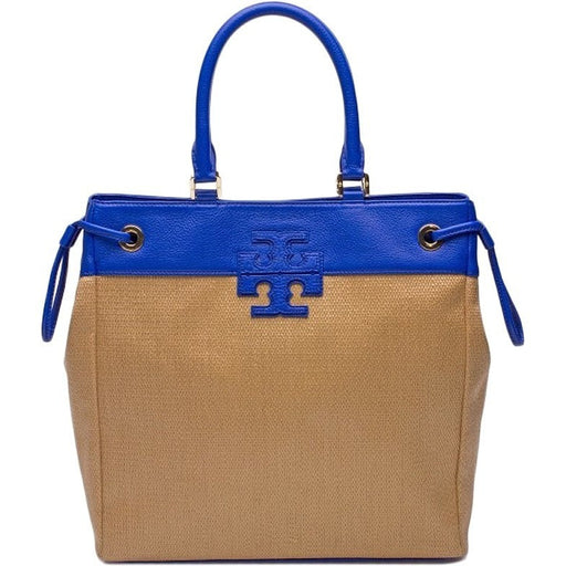 TORY BURCH STRAW STACKED T LOGO TOTE Natural Royal Ocean 28159647 254