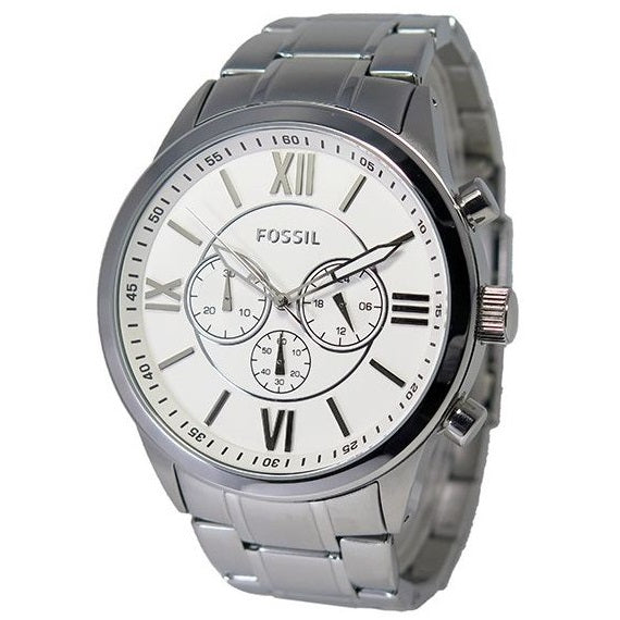 Fossil Mens Watch Silver Tone BQ1124 Roman Numerals Stop Watch