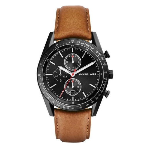 Michael Kors Accelerator Chronograph Black Dial Tan Leather Mens Watch MK8385