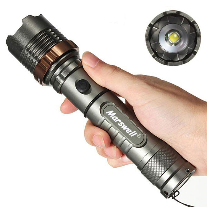 Tactical T6 LED Zoom Flashlight Torch Rechargeable + 18650 Battery + Charger