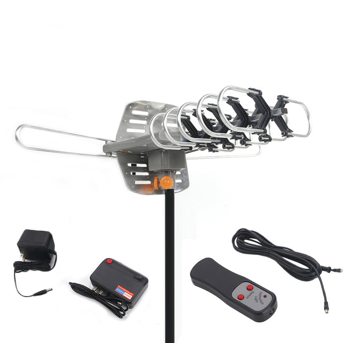 HDTV Outdoor Amplified Antenna HD TV 36dB Rotate 360° UHF/VHF/FM 150Mile + Stand