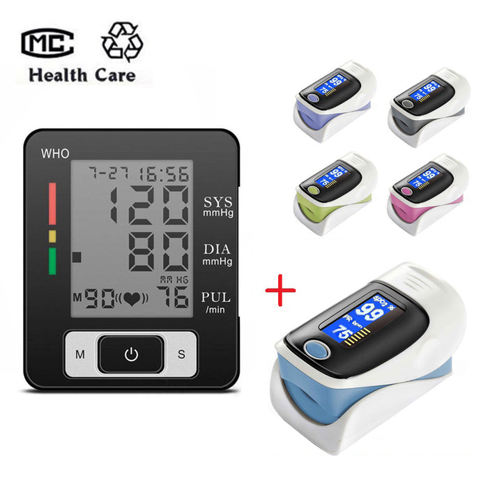 2PCS Portable Digital Wrist Blood Pressure Monitor Automatic and LCD Digital Finger Pulse Oximeter Heathy Care