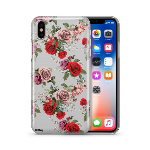 Watercolor Floral Pattern - Clear TPU iPhone Case / Samsung Case Phone Cover