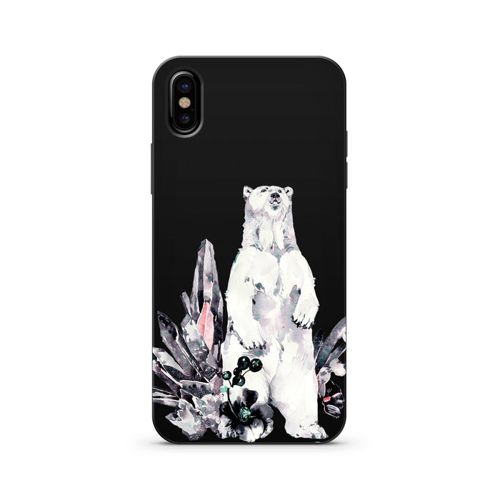 Black Wood Printed iPhone Case / Samsung Case Phone Cover - Iceberg (Polar Bear)