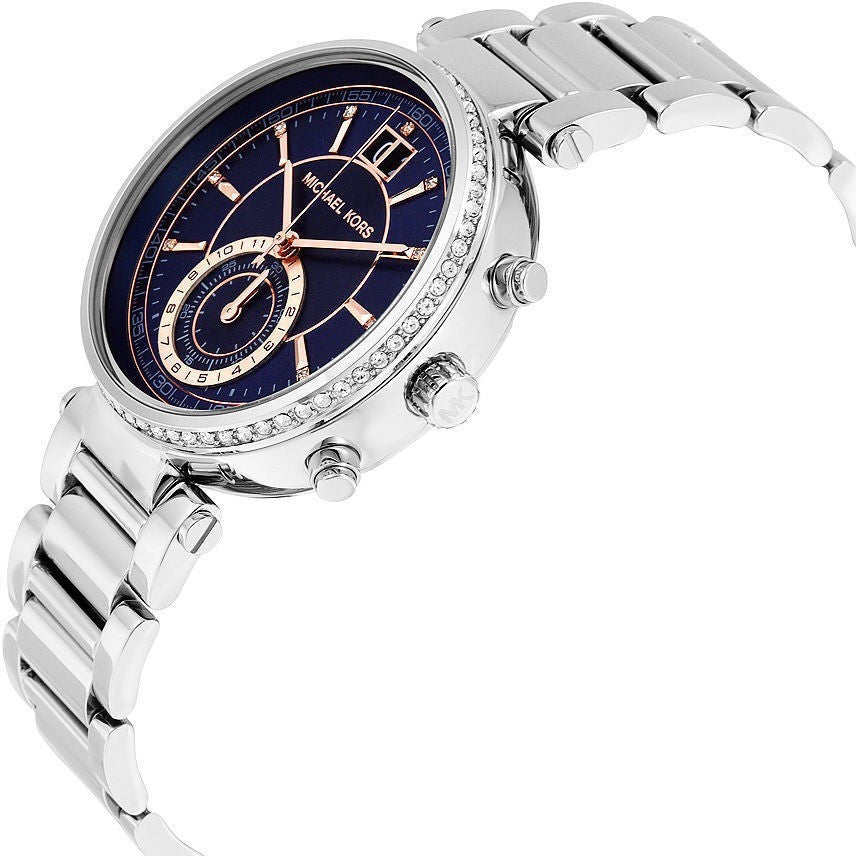 83df7482a2f6 MICHAEL KORS Sawyer Blue Dial Stainless Steel Ladies Watch MK6224 —  lalamall.com