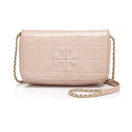 Tory Burch Marion Quilted Patent Clutch Light Oak