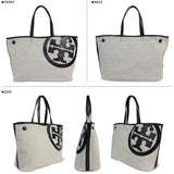 Tory Burch Large Lonnie Canvas & Leather Logo Handbag Purse Tote