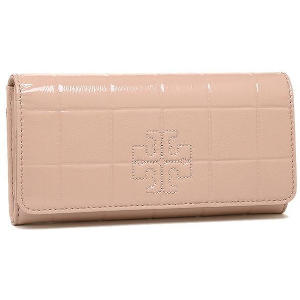 Tory Burch Marion Quilted Patent Leather Wallet in Light Oak