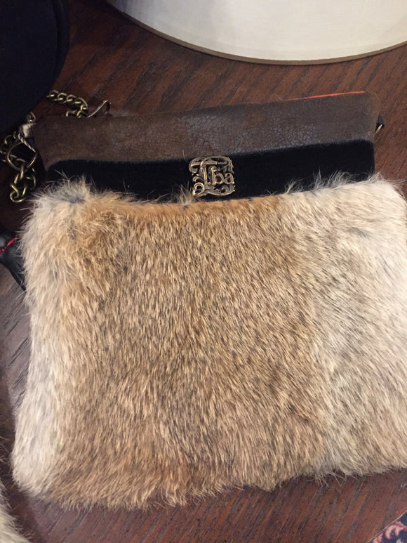 Black Leather Fur Bag