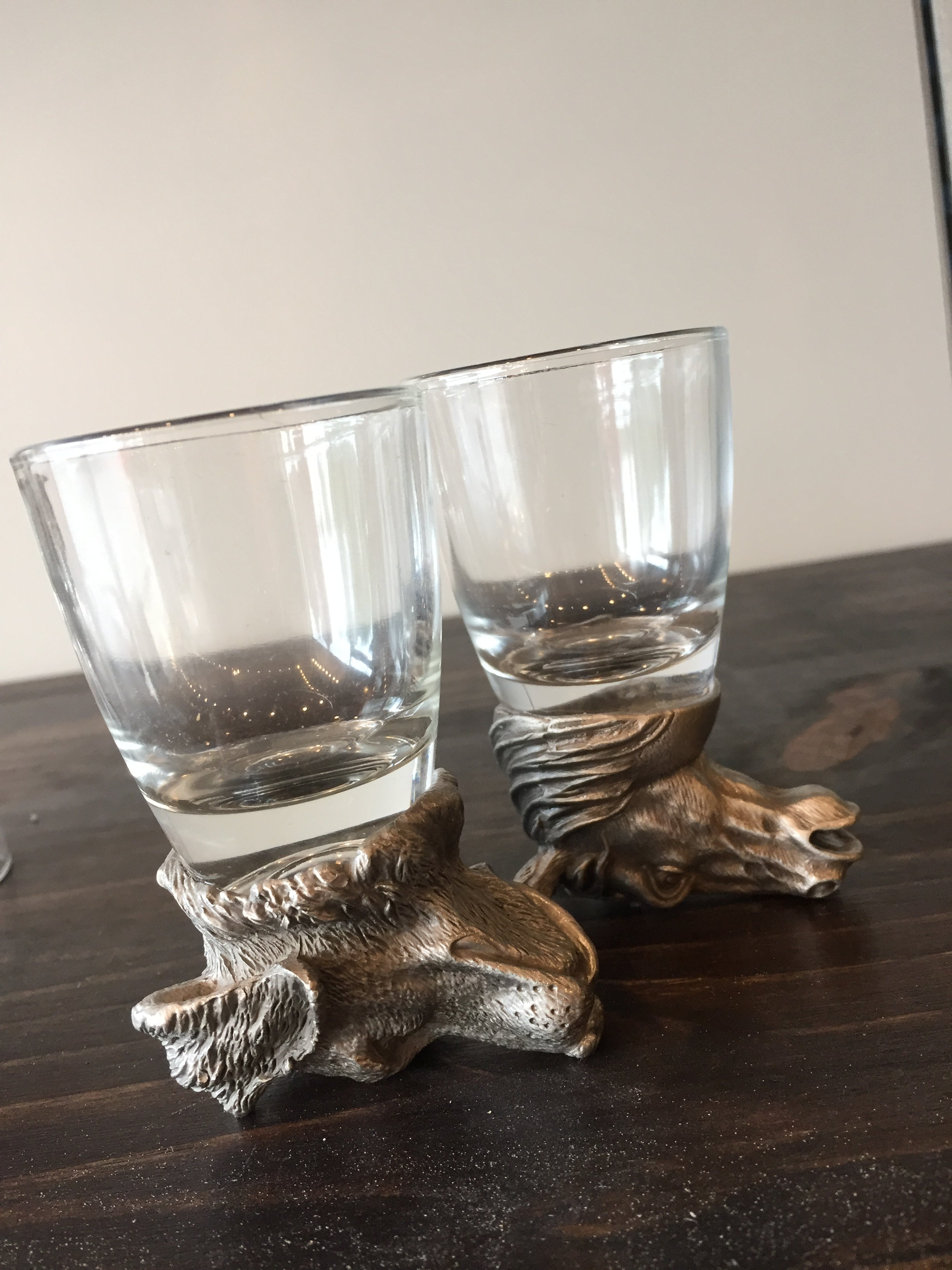 Shot Glasses with Pewter Animal Head Bases