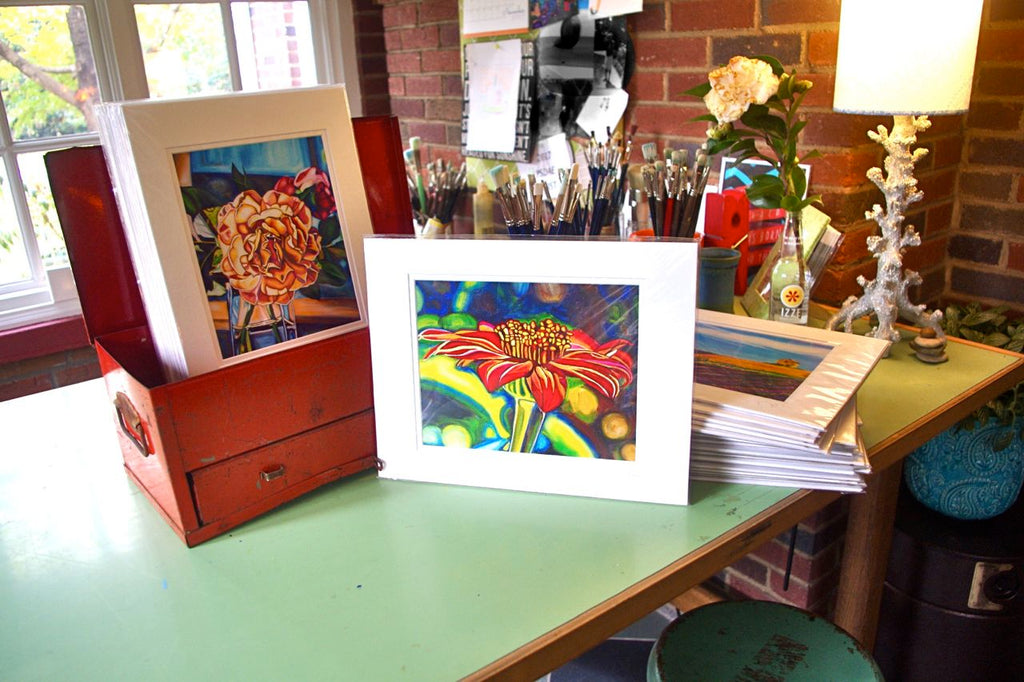 """Swamp Rabbit Dahlia"" Medium Matted Print (Vertical Format)"