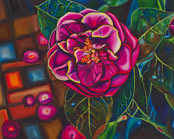 """Camellia"" Medium Matted Print (Vertical Format)"