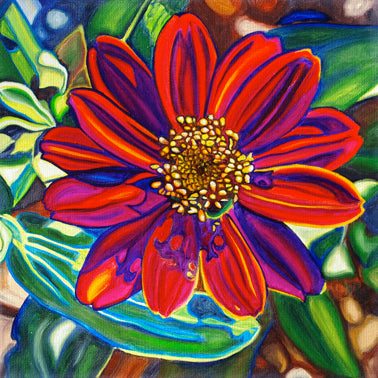 """Christmas Zinnia"" Medium Matted Print"