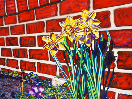 """Downtown Daffodils"" Medium Matted Print"