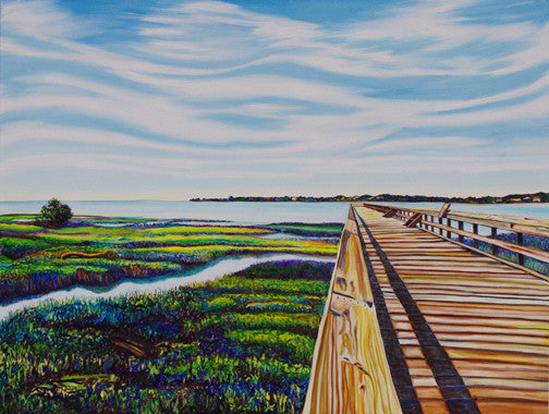 """Fishing Pier"" {LANDSCAPE OIL PAINTING}"