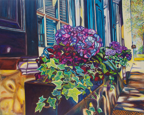 """Hydrangea Boxes"" {LANDSCAPE OIL PAINTING}"