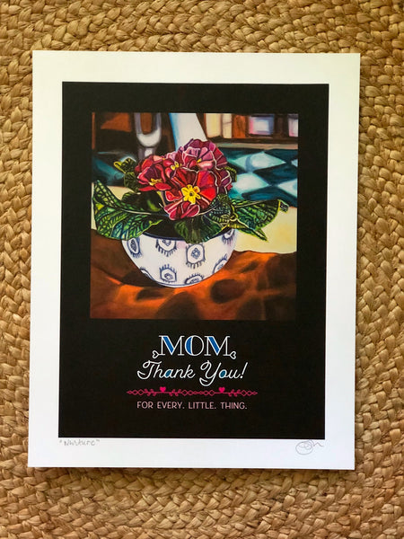 """MOM, THANK YOU"" -- 11"" x 14"" Signed & Titled PAPER ART MESSAGE"