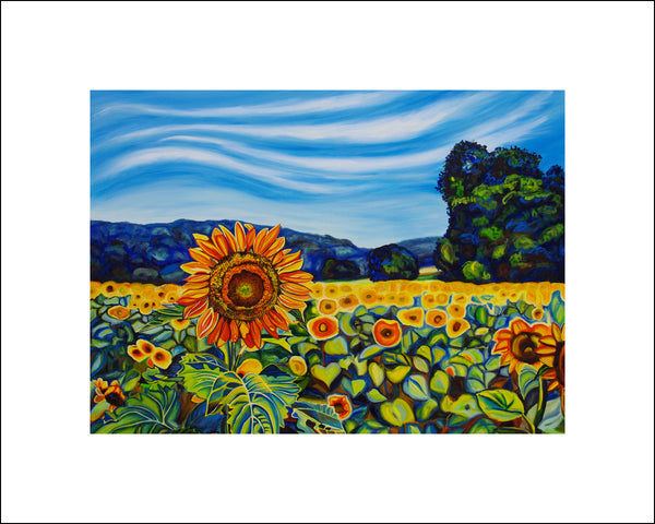 """Sunflower Field"" Large Paper Art Print"