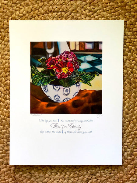 """THIRST FOR BEAUTY"" -- 11"" x 14"" Signed & Titled PAPER ART MESSAGE"